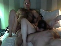 Actual adult couple fucking with buddy