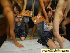 A duo Japanese slaves gets tied up and additionally throats fucked