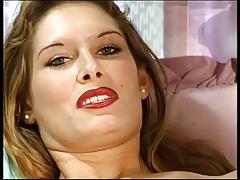 Milf in red lingerie masturbate