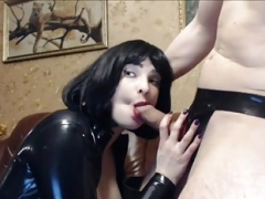Bitch In Black Latex and also Thigh Boots Gives head for Facial Cumshot
