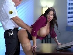 A hot woman is penetrated by a security guy in the office