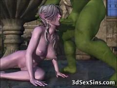 3D Ogres Get down and dirty Elf Gals!
