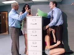 Two hot women are getting fucked by a dude in the office room