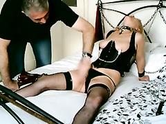 British light-haired slave fuckslut shackled up and used