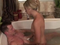 Aroused blonde masseuse gives hot handy
