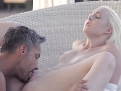 Blonde broad Lovisa Fate takes a load of hot spunk in her face