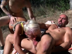 Underweight Blonde Takes A pair of Cocks At Once
