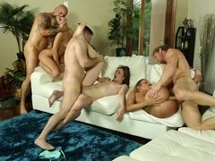 Super hot porno party with three cock hungry babes on the couch