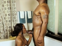 Ebony masseuse fucked by her black visitor after massage