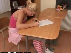 Charming blonde teen student showing