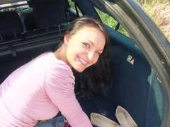 Brunette Belle Claire gets banged hard in the car by the stranger