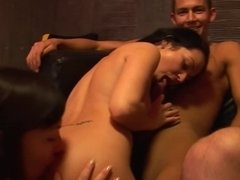 Four hotties get well paid for group sexual entertainments