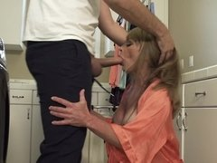 Handsome stepson is ready to fuck his blonde stepmom so damn hard