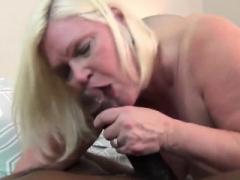 Blonde underwear grandma gets split open