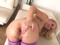 Hot and horny blonde that enjoys anal is doing a blow job
