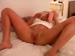 Sexy Blonde Squirts Gallons Of Cum bucket Juice