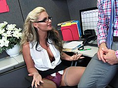 Impressive female worker attracted to her boss