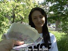 Braunhaarige, Tschechisch, Europäisch, Geld, Pov, Öffentlich, Muschi, Reiten