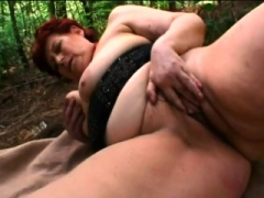 Youthful guy pounding busty redhead granny