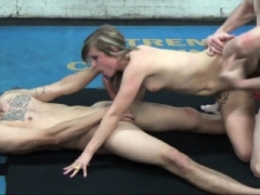Hot rookie 3some with double face cumshot