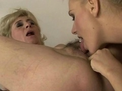 Granny licking immature pink slit