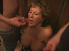 Big tits aged dick sucking in the lift