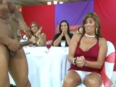 Brunette gets her nipples licked and then she licks a guy at a party