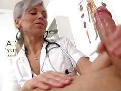 Medical CFNM handjob with European wife Beate