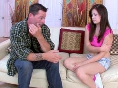 Tattooed stepdad is ready to fuck this irresistible brunette