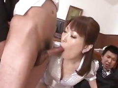 Nonoka Kaede, Asiatic milf, deals two younger cocks