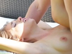 A brunette with natural boobs and a sexy small ass is getting penetrated