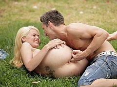 Riding her hard on natural grass