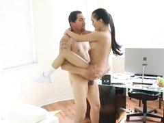 Latin babe Emily Mena craves his cumshot on her tongue