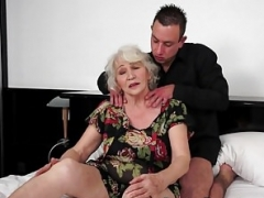 Cocksucking granny tittyfucked by huge cock