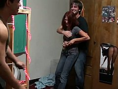 18 jaar, Enthousiasteling, Universiteit, Stel, Vriendin, Hardcore, Roodharige vrouw, Mager
