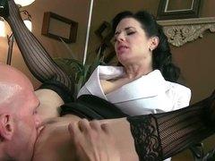 Mesmerizing brunette mistress wants get in hands of strong man