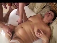 Unshaved Granny In Glasses And Whit...