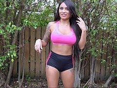 Well shaped beautiful Latina Natalia Mendez. Booty workout