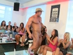 Party girls are happy to give the muscular stripper a blowjob