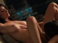 A pair of sexy bitches that loves pussy is licking on the sofa