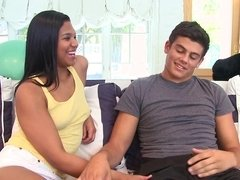 Smiling Latina Emy Reyes gets banged hard by her roommate