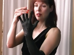 Posh british brunette Soccer mom teases in nylons leather gloves