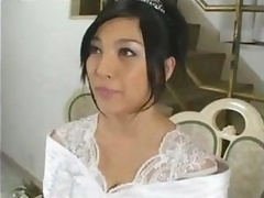 Amazingly-looking bride Saori Hara gets down and dirty her fiancee after wedding