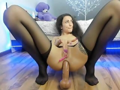 Rectal dildo fun in nylons