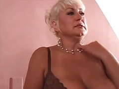 Blonde Aged Mom i`d like to fuck Shows Her Lad She Can Still Do It