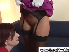 Aged British Lesbians In Stockings Flashes Her Honey pot To Her Familiar
