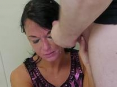 Old whore is dominated and besides made to give blowjob on that large cock deeply