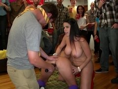 Sexy girls are making an orgy in front of a horny crowd in the dorm