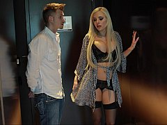 Blonde Pornstar Nina Elle escorting me