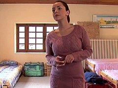 Slaapkamer, Bruinharig, Schattig, Europees, Groep, Lesbisch, Feest, Tiener